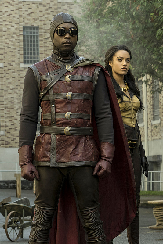 """DC's Legends of Tomorrow --""""The Justice Society of America""""-- Image LGN202a_0012.jpg -- Pictured: (L-R): Kwesi Ameyaw as Dr. Mid-Nite and Maisie Richardson- Sellers as Amaya Jiwe/Vixen -- Photo: Katie Yu/The CW -- © 2016 The CW Network, LLC. All Rights Reserved."""