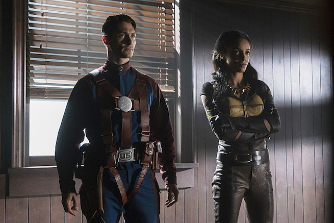 """DC's Legends of Tomorrow --""""The Justice Society of America""""-- Image LGN202b_0061.jpg -- Pictured (L-R): Matthew MacCaull as Commander Steel and Maisie Richardson- Sellers as Amaya Jiwe/Vixen -- Photo: Katie Yu/The CW -- © 2016 The CW Network, LLC. All Rights Reserved."""