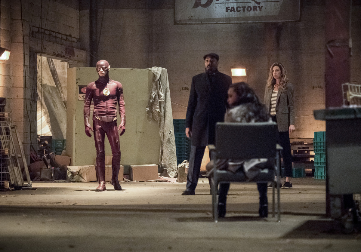 "The Flash -- ""I Know Who You Are"" -- FLA320b_0035b.jpg -- Pictured (L-R): Grant Gustin as The Flash, Jesse L. Martin as Detective Joe West, Danielle Nicolet as D.A. Cecile Horton and Anne Dudek as Tracy Brand  -- Photo: Dean Buscher/The CW -- © 2017 The CW Network, LLC. All rights reserved."