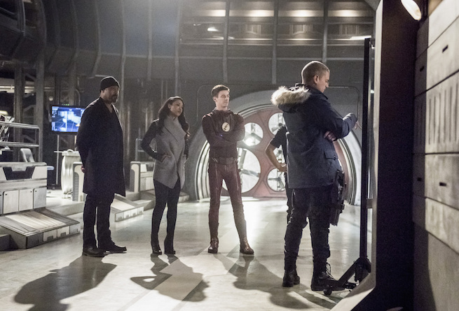 """The Flash -- """"Infantino Street"""" -- FLA322a_0170b.jpg -- Pictured (L-R): Jesse L. Martin as Detective Joe West, Candice Patton as Iris West, Grant Gustin as Barry Allen and Wentworth Miller as Leonard Snart/Captain Cold -- Photo: Dean Buscher /The CW -- © 2017 The CW Network, LLC. All rights reserved."""