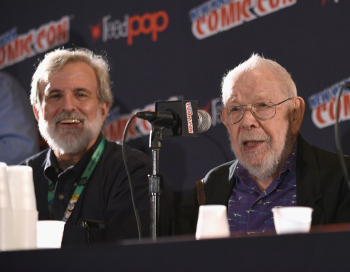 Mad artists and writers Sam Viviano and Al Jaffee attend the  Magazine Celebrates 65-Year Legacy With Legendary Creative Team Reunion at New York Comic Con on October 6, 2017 in New York City.  (Photo by Bryan Bedder/Getty Images for Mad Magazine)