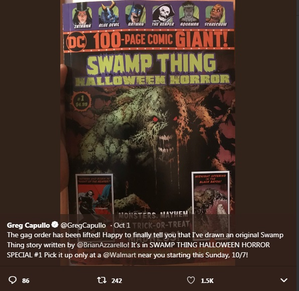 azzarello capullo s swamp thing to release as halloween special