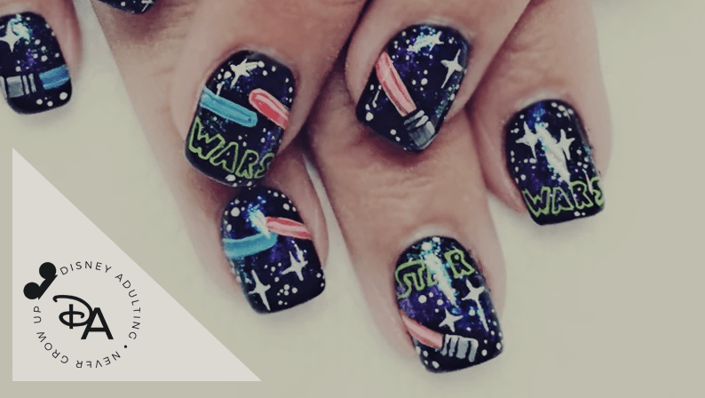 Star Wars Nails with a Whimsical Lightsaber Design and Star Wars Logo - Star Wars Nail Designs That Are One With The Force