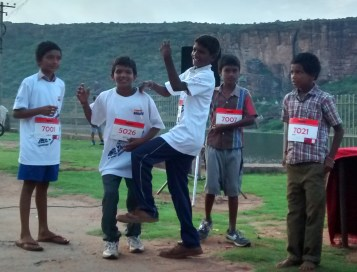 Kids warm up with a dance before the run