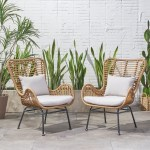 Crystal Outdoor Wicker Club Chairs With Cushions Set Of 2 Ebay