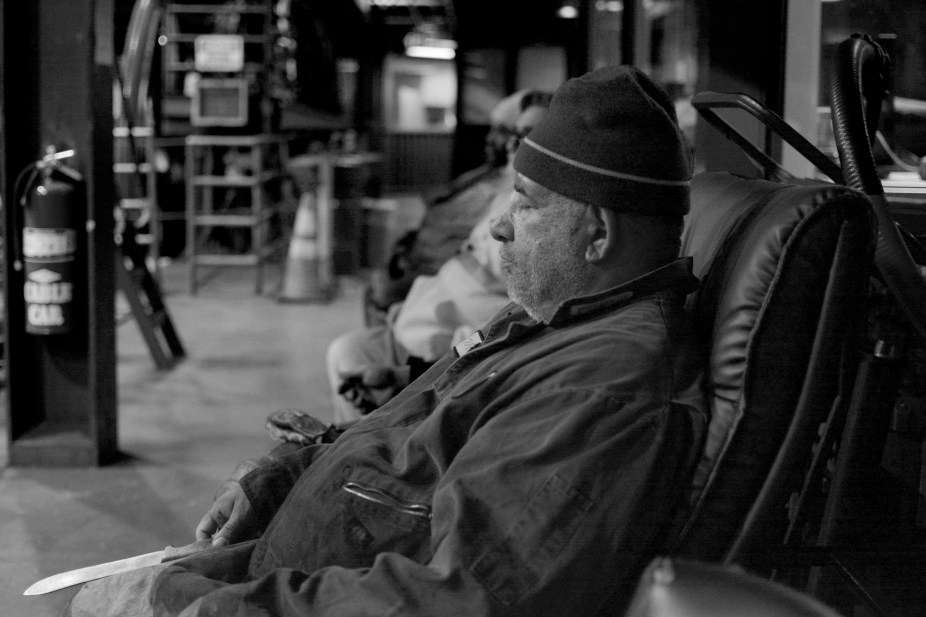 Mike Rivera, 58, a splicer from Daly City, rests during a short break at the Cable Car Barn in San Francisco on Monday, Dec 12, 2016.