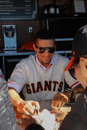 Gorkys Hernandez (66) signs autographs during the Giants Fan Fest at AT&T Park on Feb. 11, 2017.