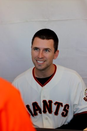Buster Posey (28) smiles at a fan during the Giants Fan Fest at AT&T Park on Feb. 11, 2017.
