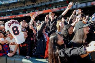 Fans scream for Pence during the Giants Fan Fest at AT&T Park on Feb. 11, 2017.