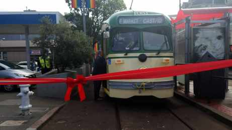 The first of 16 PCC streetcars — No. 1051, dedicated to Supervisor Harvey Milk — returns to San Francisco in better shape.