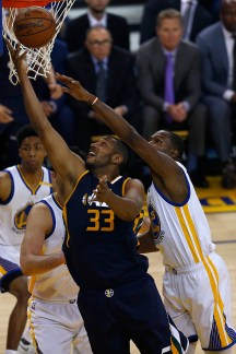 Golden State Warriors forward Kevin Durant (35) fouls Utah Jazz center Boris Diaw (33) in the first half as the Utah Jazz face the Golden State Warriors at Oracle Arena in Oakland, Calif., on Monday, April 10, 2017.