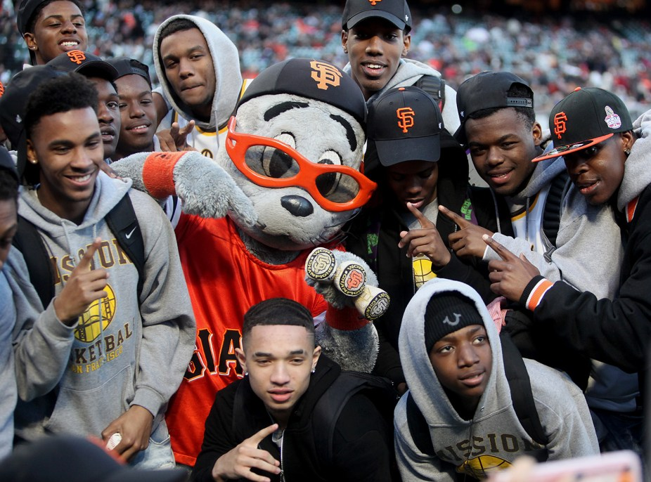 The Mission High School Bears basketball team is acknowledged for winning the State Championship last month before the Colorado Rockies face the San Francisco Giants at AT&T Park in San Francisco, Calif., on Thursday, April 13, 2017.