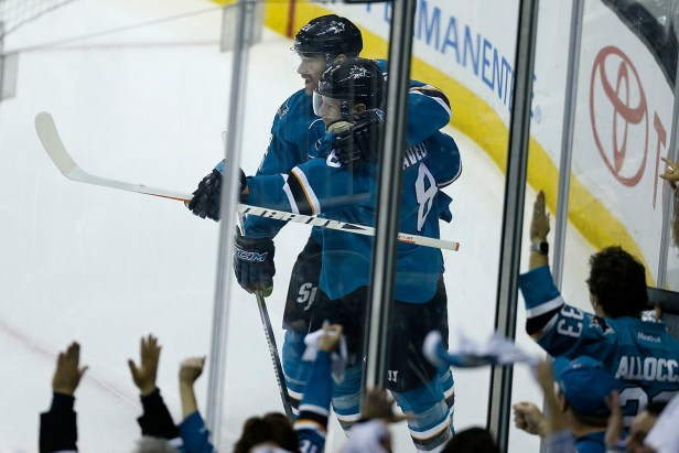 Fans celebrate as San Jose Sharks Joe Pavelski (8) scores a goal 15 seconds into the first period as the Edmonton Oilers take on the San Jose Sharks at the SAP Center in San Jose, Calif., on Tuesday, April 18, 2017.