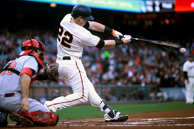 San Francisco Giants third baseman Christian Arroyo (22) breaks his bat as he grounds out as the Cincinnati Reds face the San Francisco Giants at AT&T Park in San Francisco, Calif., on Thursday, May 11, 2017.