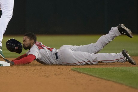 Boston Red Sox center fielder Jackie Bradley Jr. (19) steals second in the fourth inning of the game against the Oakland Athletics at the Oakland Coliseum in Oakland, Calif., on May 18, 2017.
