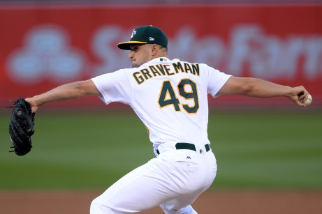 Oakland Athletics starting pitcher Kendall Graveman (49) throws a pitch in the first inning as the Boston Red Sox face the Oakland Athletics at Oakland Coliseum in Oakland, Calif., on Friday, May 19, 2017.