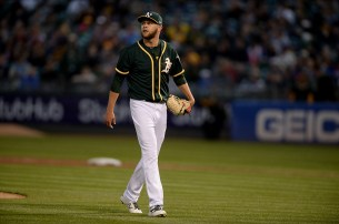Oakland Athletics starting pitcher Jesse Hahn (32) looks up after the fifth inning as the Toronto Blue Jays face the Oakland Athletics at Oakland Coliseum in Oakland, Calif., on Tuesday, June 6, 2017.