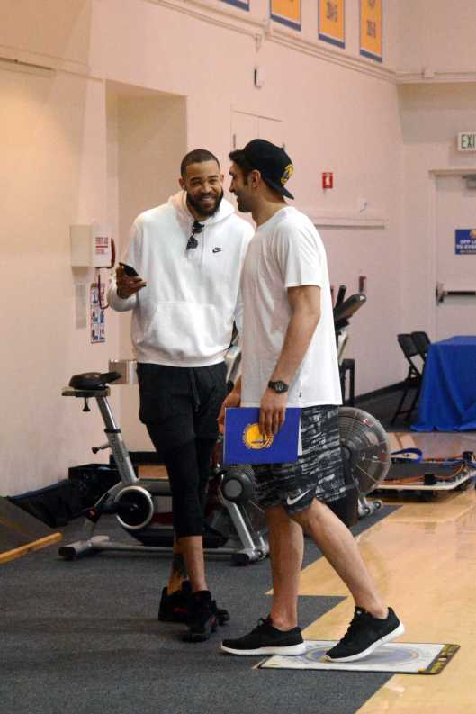 Golden State Warriors C JaVale McGee (1) laughs with C Zaza Pachulia (27) during the Warriors end-of-season media session at their practice facility in Oakland, Calif. on Wednesday, Jun. 14, 2017. On Monday, the Warriors beat the Cleveland Cavaliers to win the NBA Finals.
