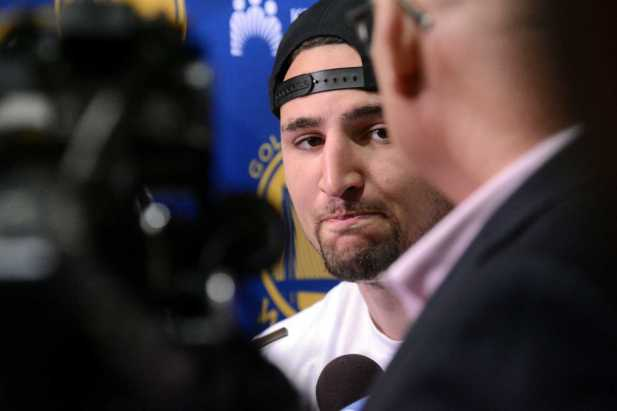Golden State Warriors G Klay Thompson (11) answers questions during the Warriors end-of-season media session at their practice facility in Oakland, Calif. on Wednesday, Jun. 14, 2017. On Monday, the Warriors beat the Cleveland Cavaliers to win the NBA Finals.
