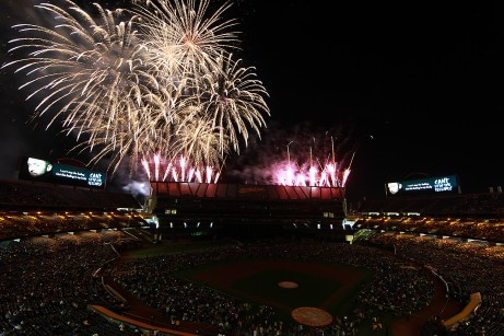 Fans watch a fireworks show after the New York Yankees fell to the Oakland Athletics 6-7 at Oakland Coliseum in Oakland, Calif., on Friday, June 16, 2017.