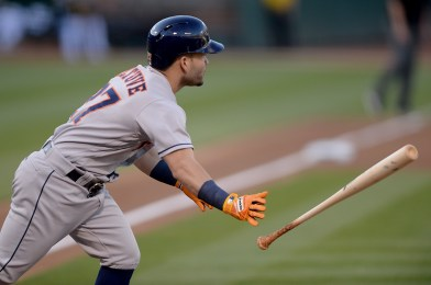 Houston Astros second baseman Jose Altuve (27) lines out in the first inning as the Houston Astros face the Oakland Athletics at Oakland Coliseum in Oakland, Calif., on Wednesday, June 21, 2017.