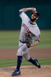 Houston Astros starting pitcher Mike Fiers (54) throws a pitch in the first inning as the Houston Astros face the Oakland Athletics at Oakland Coliseum in Oakland, Calif., on Wednesday, June 21, 2017.