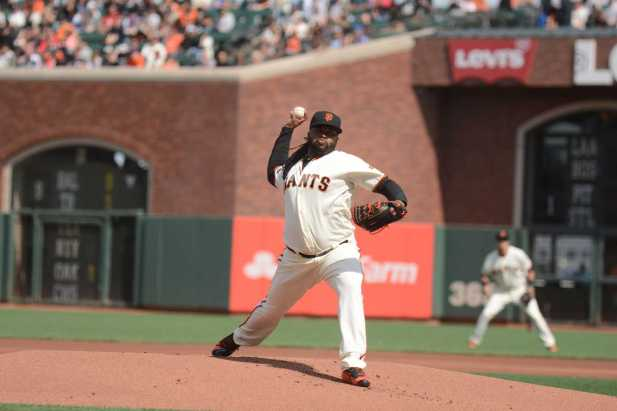 San Francisco Giants pitcher Johnny Cueto (47) throws a pitch in the first inning as the New York Mets face the San Francisco Giants at AT&T Park in San Francisco, Calif., on Friday, June 24, 2017.