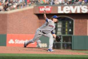 New York Mets pitcher Jacob deGrom (48) throws a pitch in the sixth inning as the New York Mets face the San Francisco Giants at AT&T Park in San Francisco, Calif., on Friday, June 24, 2017.