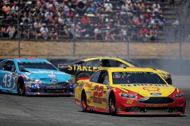 Monster Energy NASCAR Cup Series driver Daniel Suarez (19) spins as drivers Joey Logano (22) and Billy Johnson (43) pull away at the Toyota/Save Mart 350 at Sonoma Raceway in Sonoma, Calif., on Sunday, June 24, 2017.