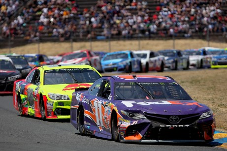 Monster Energy NASCAR Cup Series driver Denny Hamlin (11) leads the pack at the Toyota/Save Mart 350 at Sonoma Raceway in Sonoma, Calif., on Sunday, June 24, 2017.