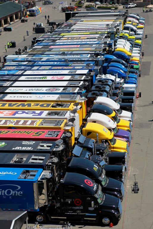 Car haulers are seen parked during the race at the Toyota/Save Mart 350 at Sonoma Raceway in Sonoma, Calif., on Sunday, June 24, 2017.