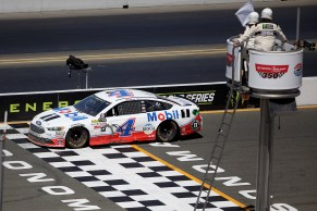 Monster Energy NASCAR Cup Series driver Kevin Harvick (4) gets the white flag at the Toyota/Save Mart 350 at Sonoma Raceway in Sonoma, Calif., on Sunday, June 24, 2017.