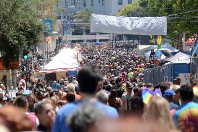 Thousands of Pride attendees mill about down Hyde Street into Civic Center at the Pride Celebration in San Francisco, Calif., on Sunday, June 25, 2017.
