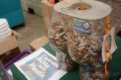 A butt-shaped receptacle is filled with cigarette butts at Ocean Beach in San Francisco, Calif., on Friday, June 30, 2017. SF Supervisors Katy Tang and Sandra Lee Fewer helped launch a pilot program to encourage people to throw their cigarettes away in receptacles instead of throwing them away on the streets.