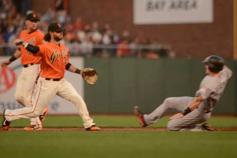 San Francisco Giants shortstop Brandon Crawford (35) throws to first base to complete a double play in the second inning as the Miami Marlins face the San Francisco Giants at AT&T Park on Friday, July 7, 2017.