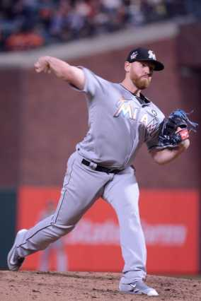 Miami Marlins pitcher Dan Straily (58) throws a pitch in the fifth inning as the Miami Marlins face the San Francisco Giants at AT&T Park on Friday, July 7, 2017.