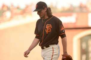San Francisco Giants pitcher Jeff Samardzija (29) walks off the mound after surrendering two runs in the first inning as the Miami Marlins face the San Francisco Giants at AT&T Park on Friday, July 8, 2017.