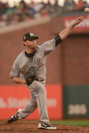 Miami Marlins pitcher Chris O'Grady (50) throws a pitch in the third inning as the Miami Marlins face the San Francisco Giants at AT&T Park on Friday, July 8, 2017.