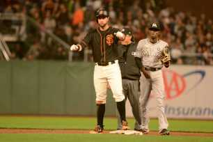 San Francisco Giants second baseman Brandon Belt (9) reacts after hitting a run-scoring double in the sixth inning as the Miami Marlins face the San Francisco Giants at AT&T Park on Friday, July 8, 2017.