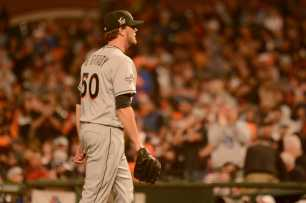 Miami Marlins pitcher Chris O'Grady (50) walks off the mound during a pitching change in the sixth inning as the Miami Marlins face the San Francisco Giants at AT&T Park on Friday, July 8, 2017.
