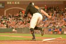 San Francisco Giants outfielder Hunter Pence (8) grounds out to end the seventh inning as the Miami Marlins face the San Francisco Giants at AT&T Park on Friday, July 8, 2017.