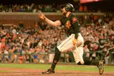 San Francisco Giants outfielder Hunter Pence (8) reacts after striking out to end the game as the Miami Marlins face the San Francisco Giants at AT&T Park on Friday, July 8, 2017.