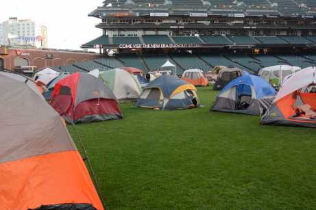 Tents fill the field at the Giants slumber party after the Miami Marlins beat the San Francisco Giants at AT&T Park on Friday, July 9, 2017.