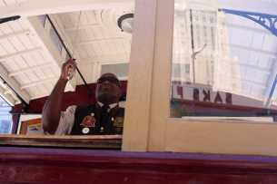 Leonard Oats, champion of 2016, performs at the 54th cable car bell ringing contest at Union Square in San Francisco, Calif., on Thursday, July 13, 2017.