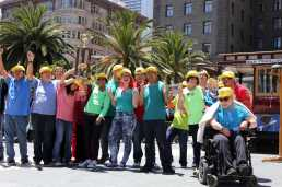 Members of Access SFUSD at the Arc, a community-based program for students with disabilities ages 18-22, celebrate winning first place in the amateur portion of the 54th cable car bell ringing contest at Union Square in San Francisco, Calif., on , Thursday,July 13, 2017.