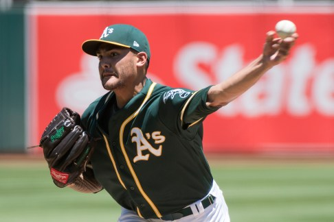 Oakland Athletics pitcher Sean Manaea (55) pitches in the first inning of the game against the Cleveland Indians at the Oakland Coliseum in Oakland, Calif., on July 16, 2017.