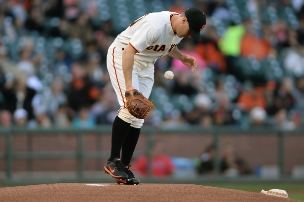 San Francisco Giants relief pitcher Ty Blach (50) grabs the ball to start the game as the Cleveland Indians face the San Francisco Giants at AT&T Park in San Francisco, Calif., on Tuesday, July 18, 2017.