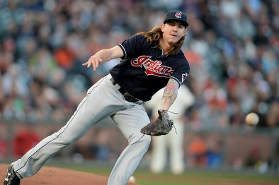 Cleveland Indians starting pitcher Mike Clevinger (52) throws out Pence in the second inning as the Cleveland Indians face the San Francisco Giants at AT&T Park in San Francisco, Calif., on Tuesday, July 18, 2017.