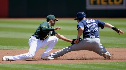 Tampa Bay Rays right fielder Steven Souza Jr. (20) is tagged out by Oakland Athletics shortstop Marcus Semien (10) and left the game due to an injury as the Tampa Bay Rays face the Oakland Athletics at Oakland Coliseum in Oakland, Calif., on Wednesday, July 19, 2017.