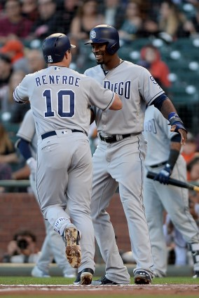 San Diego Padres left fielder Jabari Blash (32) congratulates right fielder Hunter Renfro (10) after a second inning two-run home run as the San Diego Padres face the San Francisco Giants at AT&T Park in San Francisco, Calif., on Thursday, July 20, 2017.
